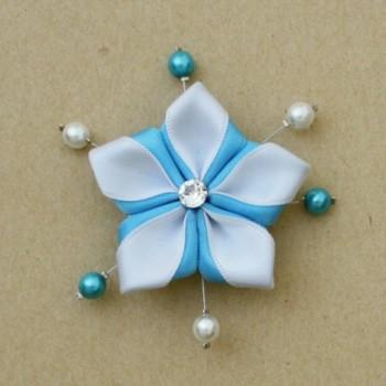 Broche mariage fleur blanc turquoise BRO299