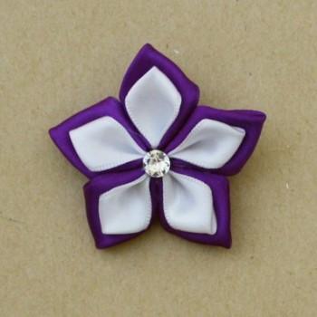 Broche fleur blanc violet BRO343