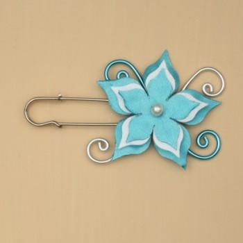 Attache traine fleur turquoise et blanc AT359