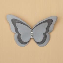 Broche ou boutonnière papillon gris BRO400