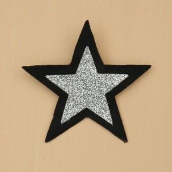 Broche boutonnière étoile noir et argent BRO358