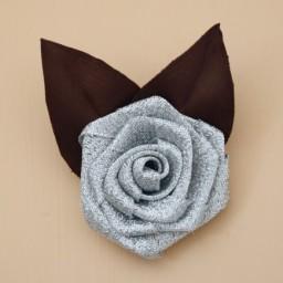 Broche fleur argent chocolat BRO401