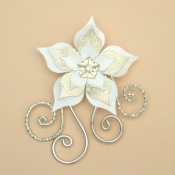Broche mariage fleur ivoire or champagne BRO354A