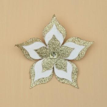 Broche boutonnière mariage fleur blanche et or BRO1272A