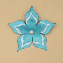 Broche ou boutonnière mariage fleur turquoise et blanc BRO359