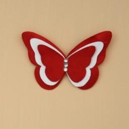 Broche ou boutonnière papillon rouge et blanc BRO357