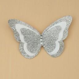 Broche boutonnière mariage papillon blanc argent BRO1271