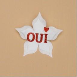 Broche ou boutonnière mariage OUI blanc rouge BRO362