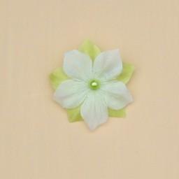 Broche ou boutonnière fleur blanc et vert anis BRO1277B