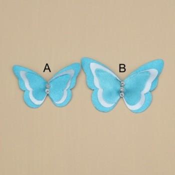 Broche/boutonnière papillon satin turquoise et blanc BRO361