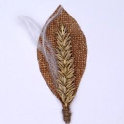 Boutonnière ou Broche feuille jute et blé BRO370
