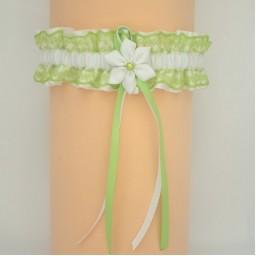 Jarretière mariage blanc vert anis  JA107