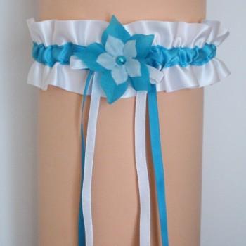 Jarretière mariage blanc bleu turquoise JA102