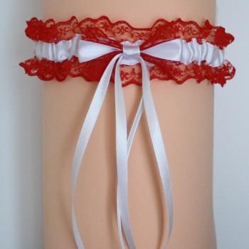 Jarretière mariage rouge et blanc JA101