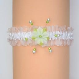 Jarretière de mariage fleur blanc et vert anis JA1277A