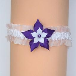 Jarretière mariage fleur blanc et violet JA360