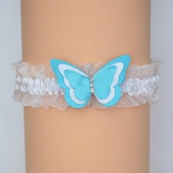 Jarretière mariage papillon blanc et bleu turquoise JA361B