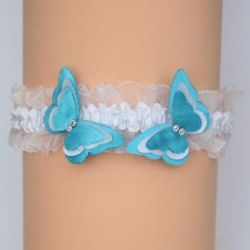 Jarretière mariage papillon blanc et bleu turquoise JA361C