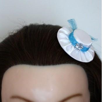 Pince à cheveux chapeau blanc turquoise PI300