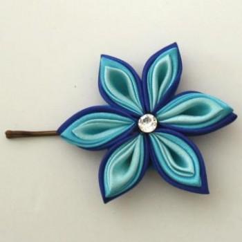 Pince à cheveux fleur bleu PI015