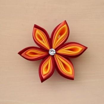 Pince à cheveux fleur rouge orange jaune PI014A