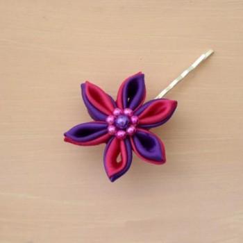 Pince à cheveux fleur violet et rose PI013A