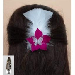 Pince à cheveux blanc bordeaux plumes papillon PI001A