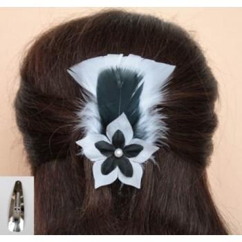 Pince à cheveux blanc noir plumes fleur PI002A