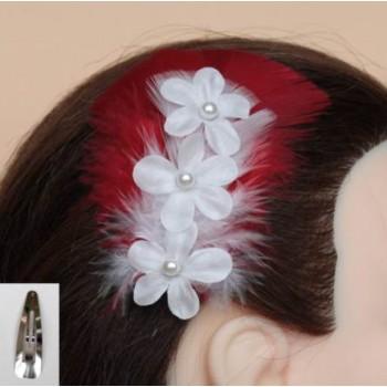 Pince à cheveux mariage rouge et blanc fleurs PI003A