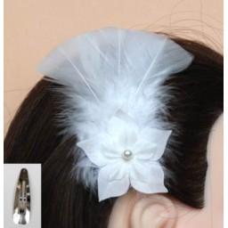 Pince à cheveux mariage blanc fleur plumes PI004A