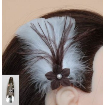 Pince à cheveux mariage blanc chocolat fleur plumes PI005A