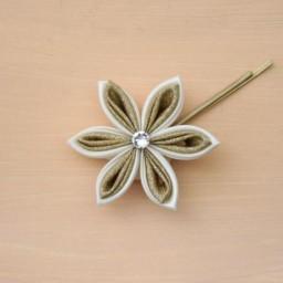 Pince à cheveux mariage fleur ivoire et or PI011A