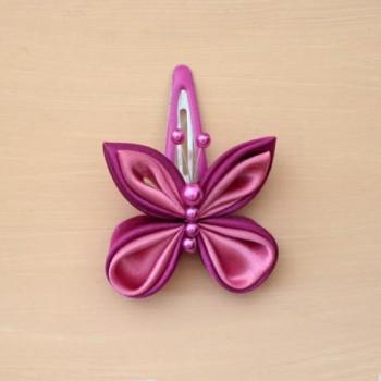 Pince à cheveux papillon rose PI012A