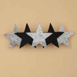 Barrette mariage étoile noir et argent BAR358