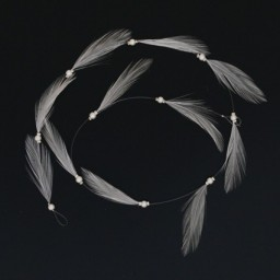 Fil perles et plumes blanc AC1005