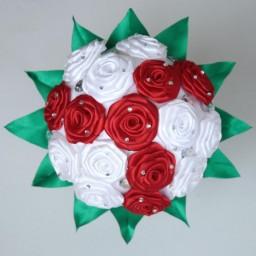 Bouquet de fleurs blanc et rouge BF1004A