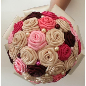 Bouquet de fleurs ivoire rose fuchsia bordeaux BF1001A