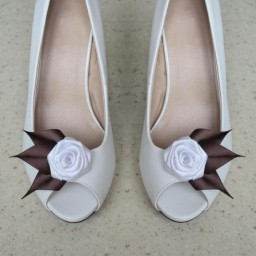 Clips chaussures mariage blanc et chocolat CC001