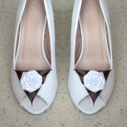 Clips chaussures mariage blanc et chocolat CC002