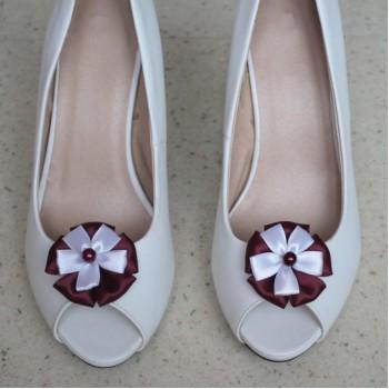Clips chaussures mariage bordeaux et blanc CC004