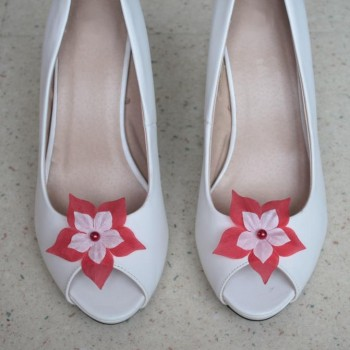 Clips chaussures mariage rouge et blanc CC003