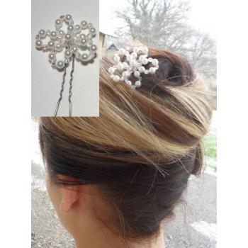 Epingle à cheveux mariage blanc et cristal EP1019A