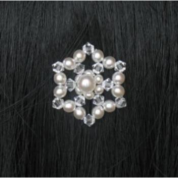 Epingle à cheveux mariage fleur blanc et cristal EP4220A