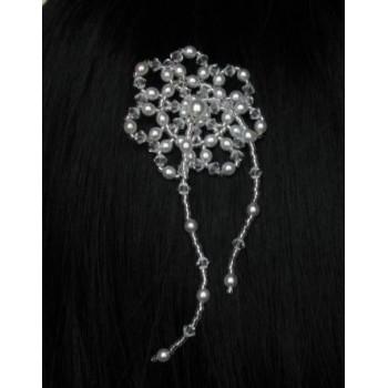 Epingle à cheveux mariage fleur blanc et cristal EP4234Z
