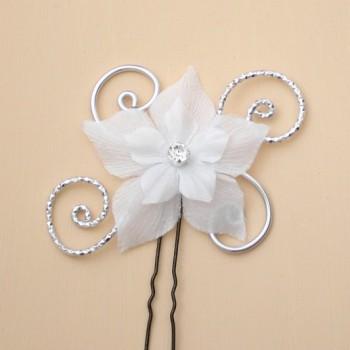 Epingle à cheveux argent et fleur blanche EPA353
