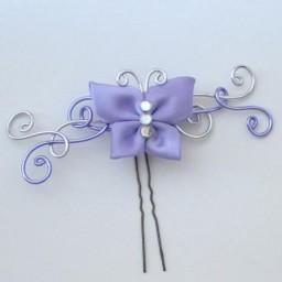 Epingle à cheveux argent lilas papillon EPA323