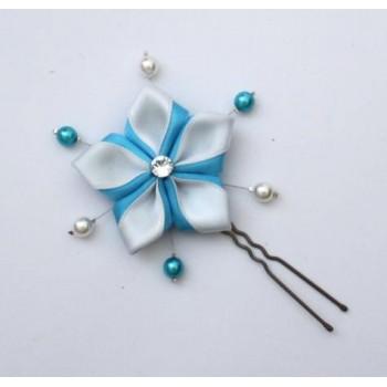 Epingle à cheveux fleur blanc turquoise perles EP299