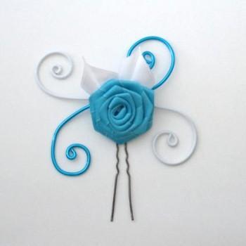 Epingle à cheveux blanc turquoise fleur EPA325