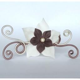 Epingle à cheveux champagne et chocolat + fleur EPA302A