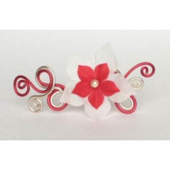 Epingle à cheveux rouge et champagne + fleur EPA240A